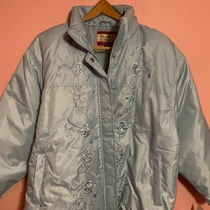 Embroidered Baby Blue Down Coat / Jacket